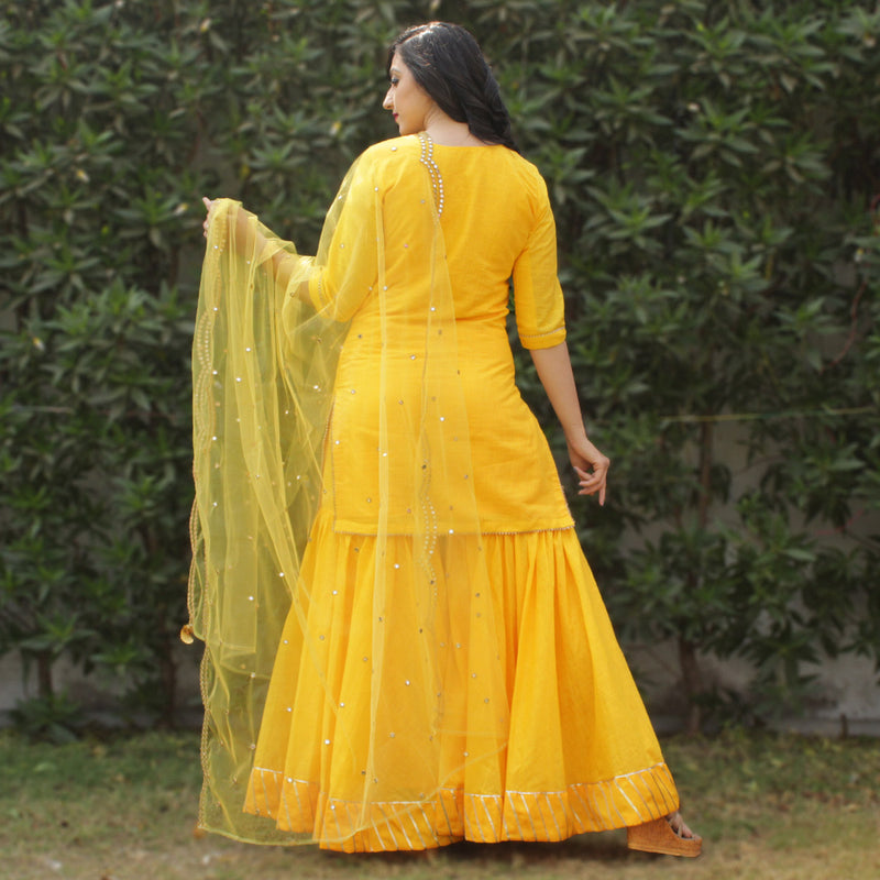 yellow kurta and sharara with net dupatta younari