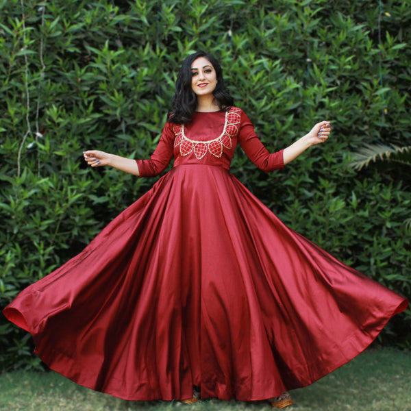marron leaf satin gown Younari