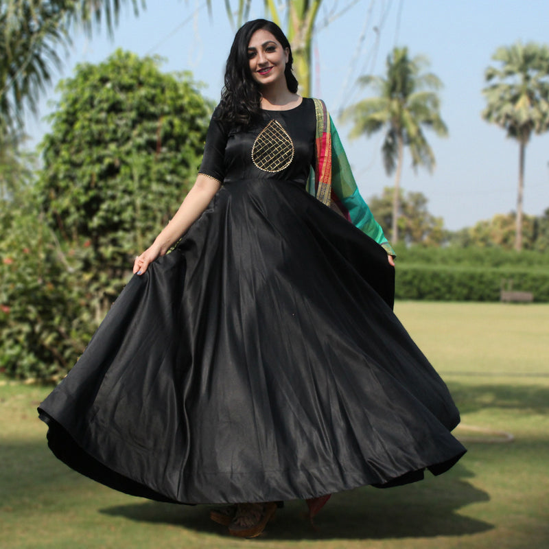 party wear black panther gown with dupatta