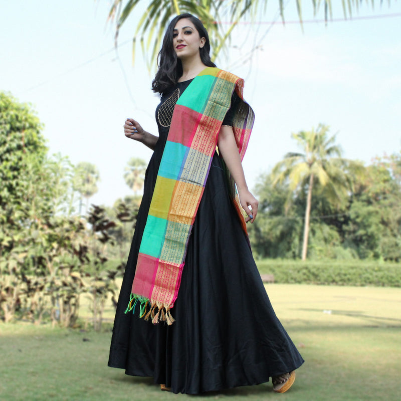 party wear black long gown with dupatta