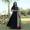 party wear black panther long gown with dupatta