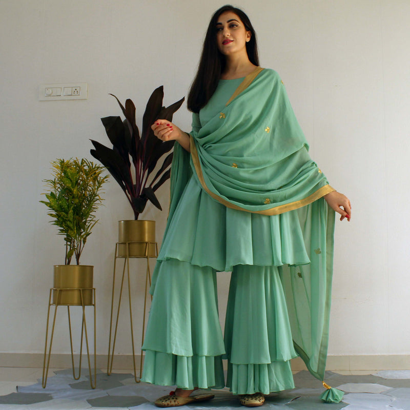 Ready to wear Mint Green sharara set