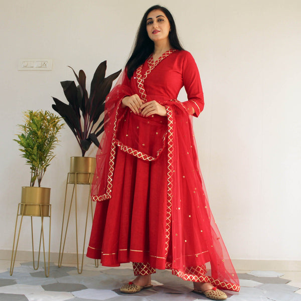 YOUNARI COTTON RED BERRY SUIT SET