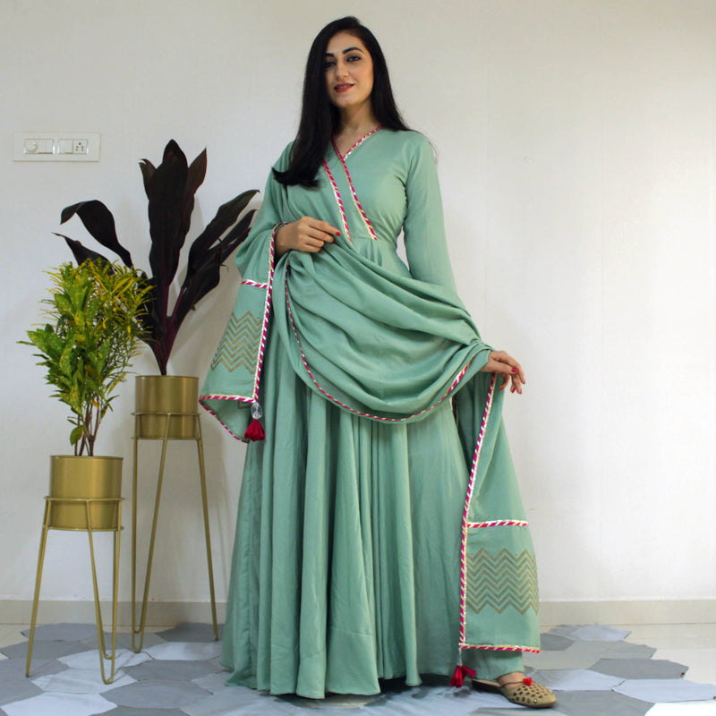 Ready to wear Neptune Green gown