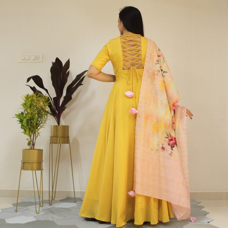Ready to wear Canary Yellow floral Gown