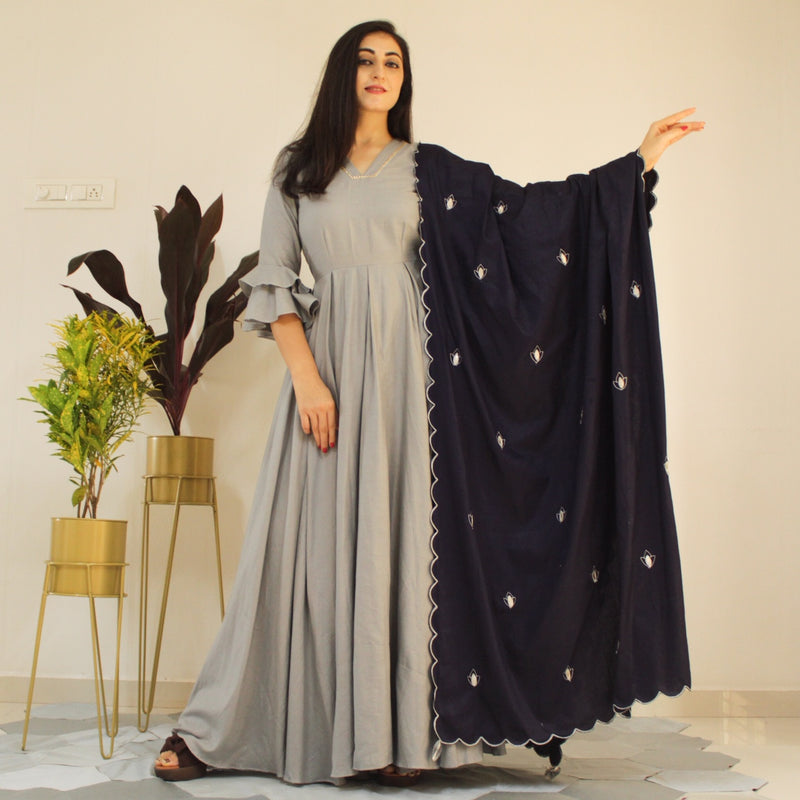Ready to wear silver gray gown