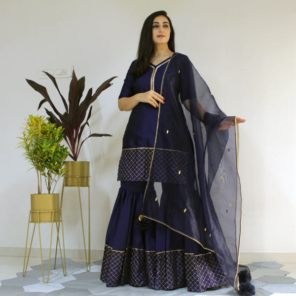 Ready to wear Navy blue delight sharara set