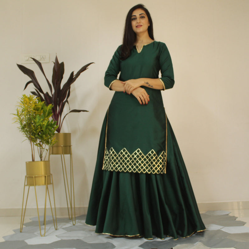 apple green kurta skirt suit set Younari