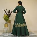 green kurti with skirt younari