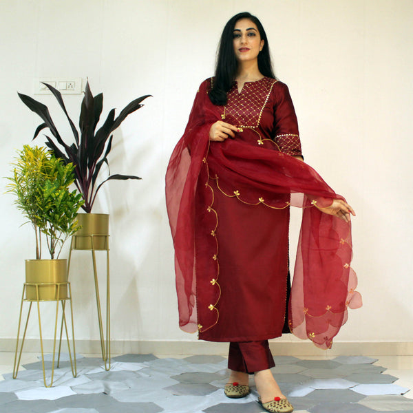 Ready to wear Ruby Wine suit set