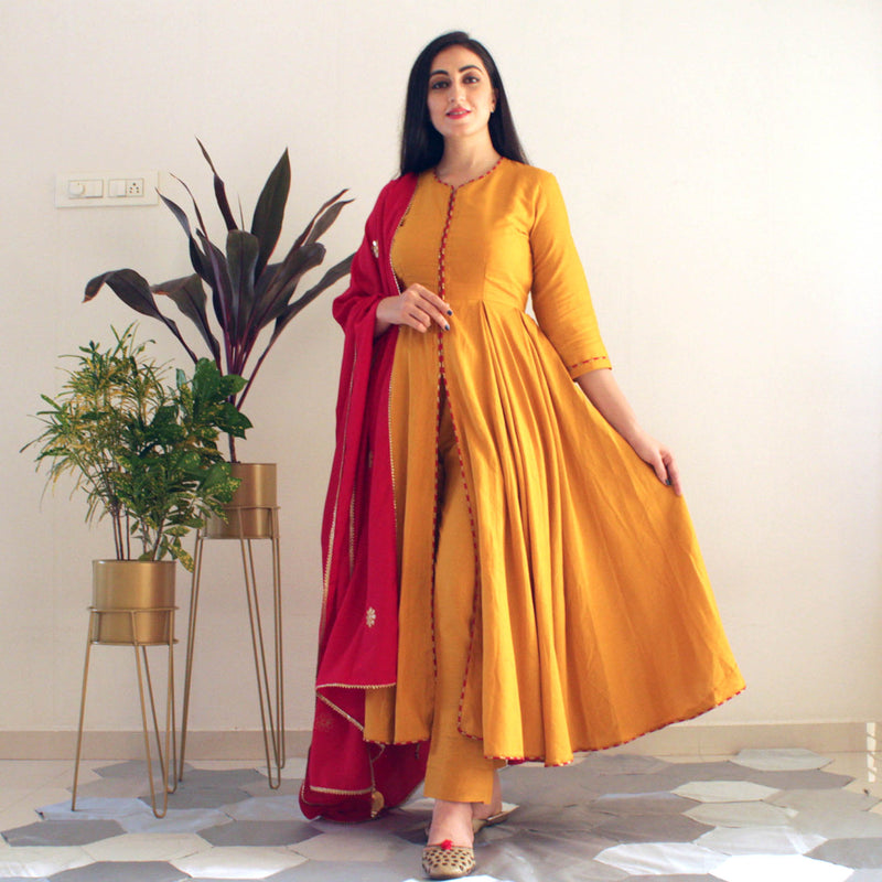 Ready to wear Mustard yellow indowestern suit set