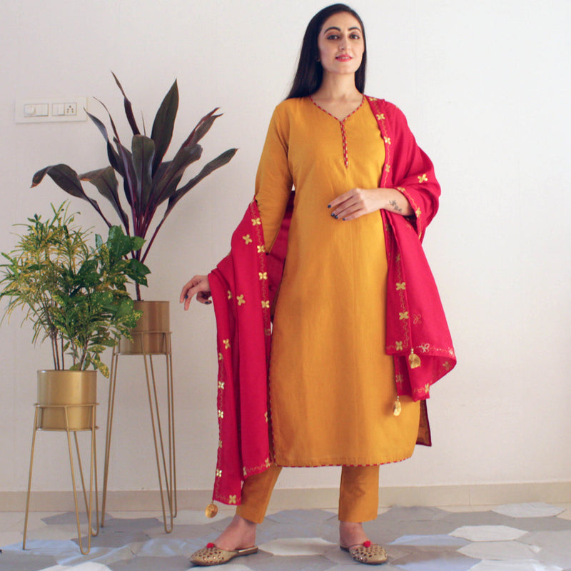 Ready to wear Gold Mustard suit set