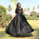younari black panther long party gown with chanderi dupatta