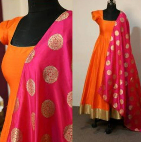 Orange gown with sleeves and banarasi dupatta