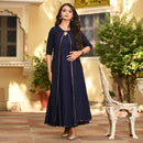 Navy blue cotton dress with lace