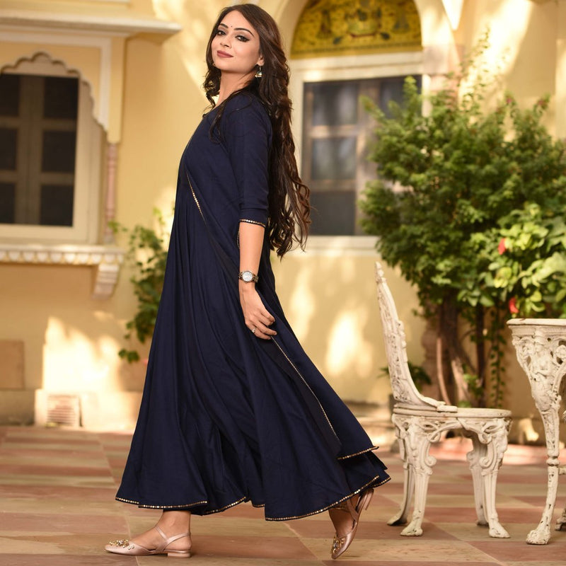 navy blue kurti with border lace