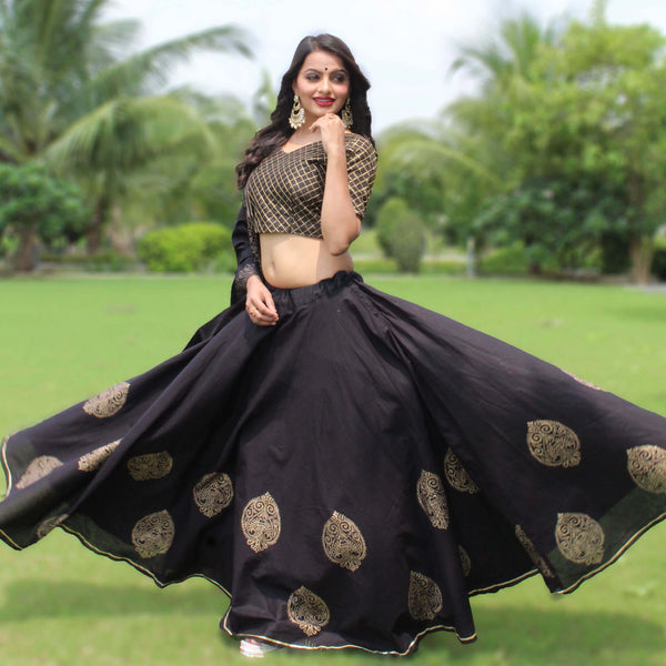 black block printed lehnga choli
