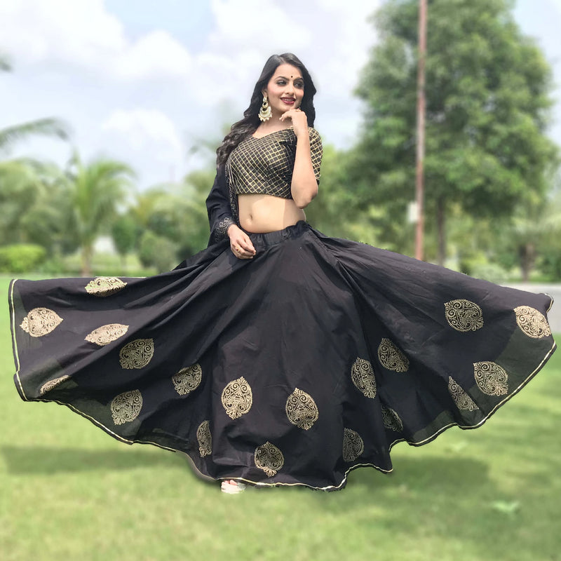 simple black block printed lehnga choli.