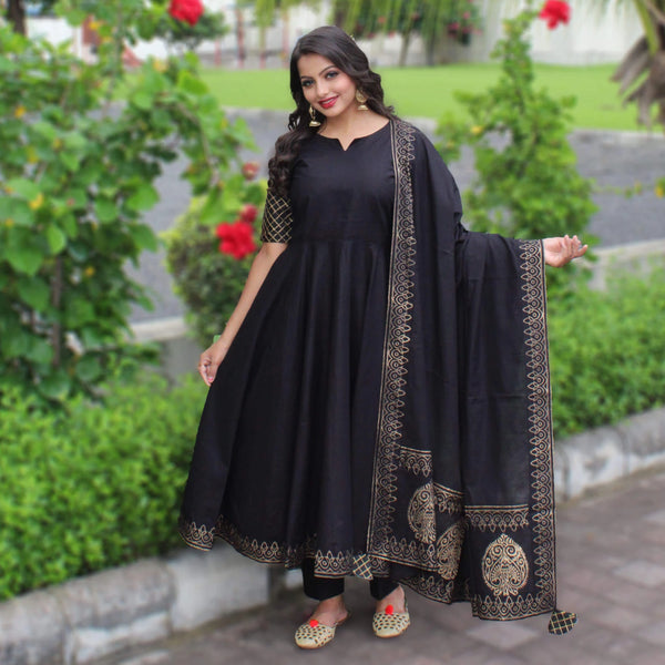 black cotton block printed suit set