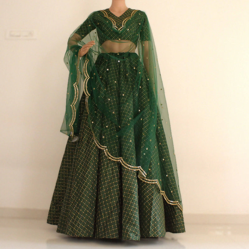 sequence work green lehnga choli with dupatta