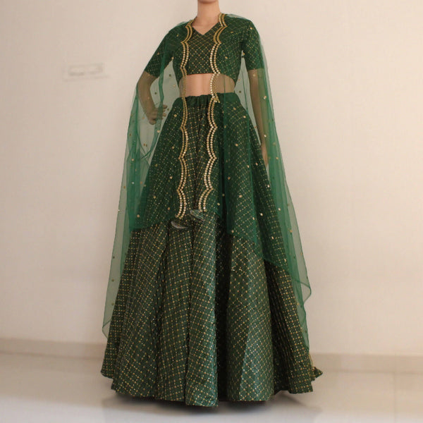 green lehenga choli for women
