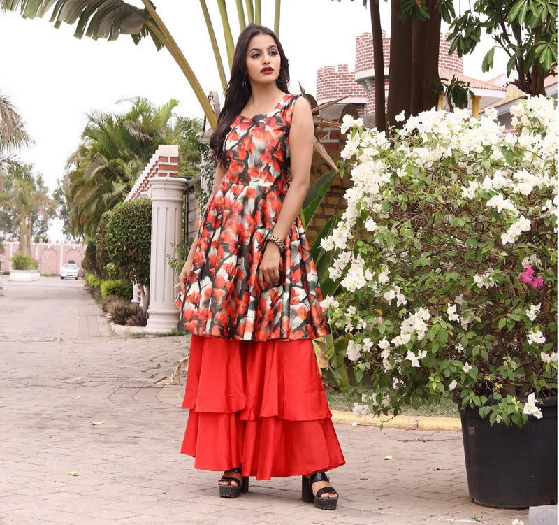 Red sharara set with flower print kurta