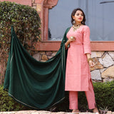 Peach cotton kurta with dupatta dress
