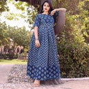 Block printed flared long gowns with sleeves