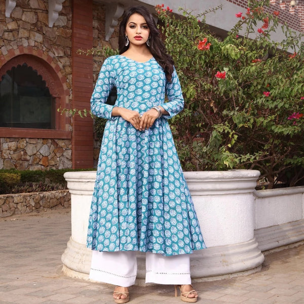 Sea green and white cotton plazo suit bunaai