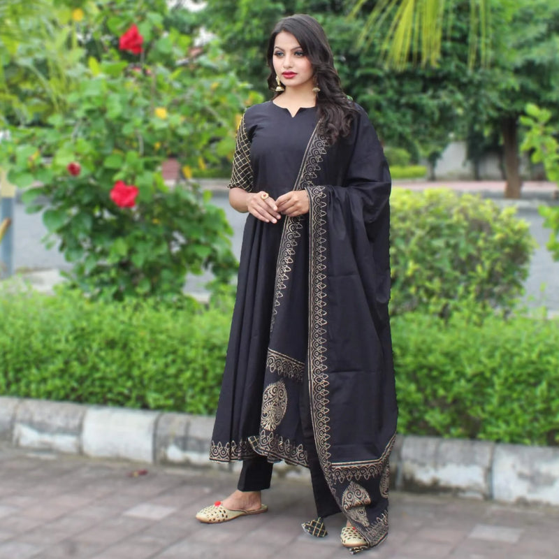 black block printed kurta with dupatta