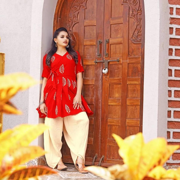 red kurta with dhoti set