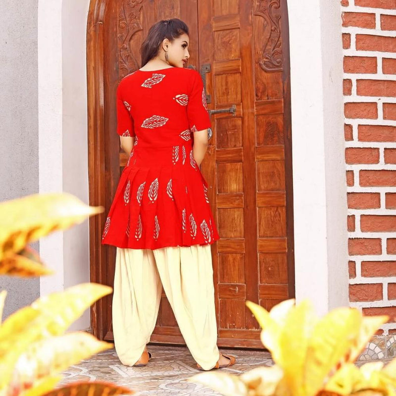block printed kurta dhoti set