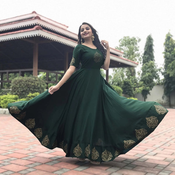 Ready to wear Block printed green flared long gown suit set
