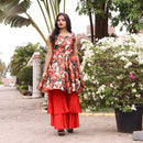 Red sharara with kurta younari