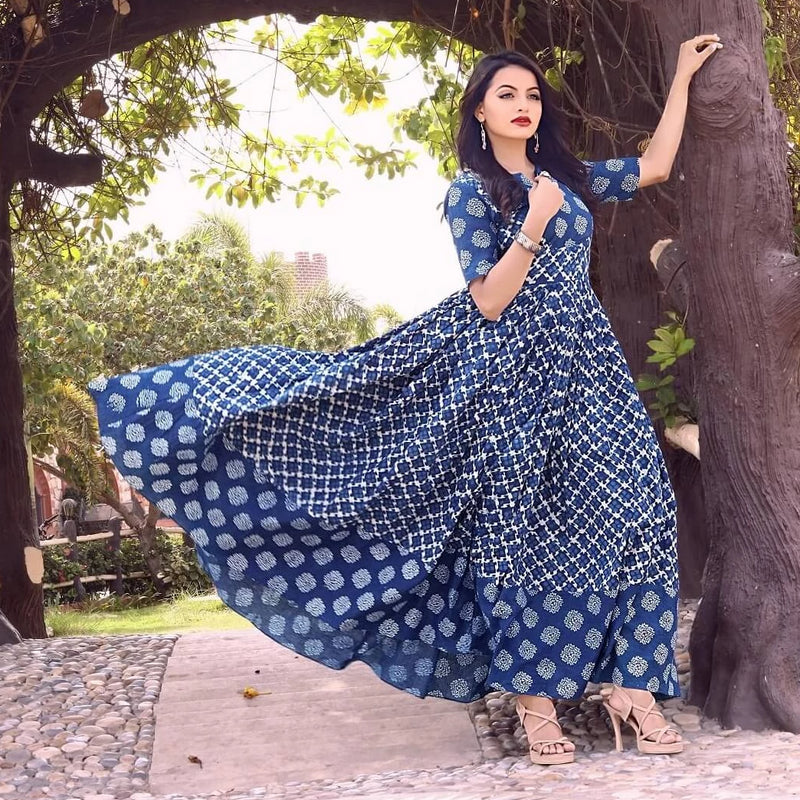 block printed flared long gown with dress