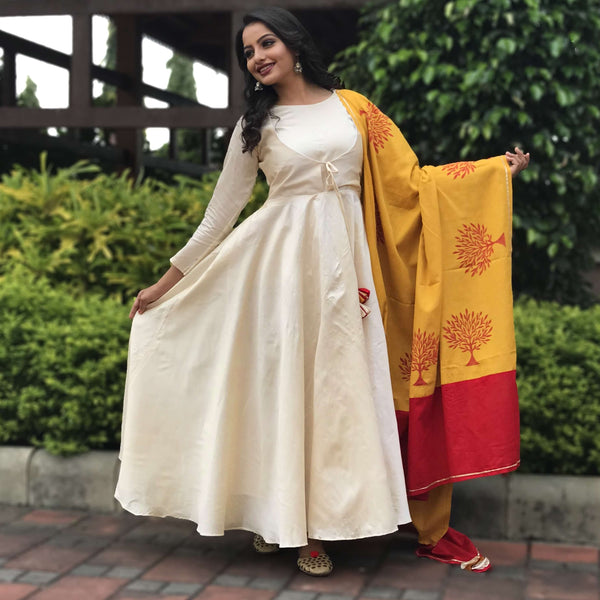 Chanderi long gown with block printed dupatta