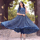 flared cotton block printed gown dress