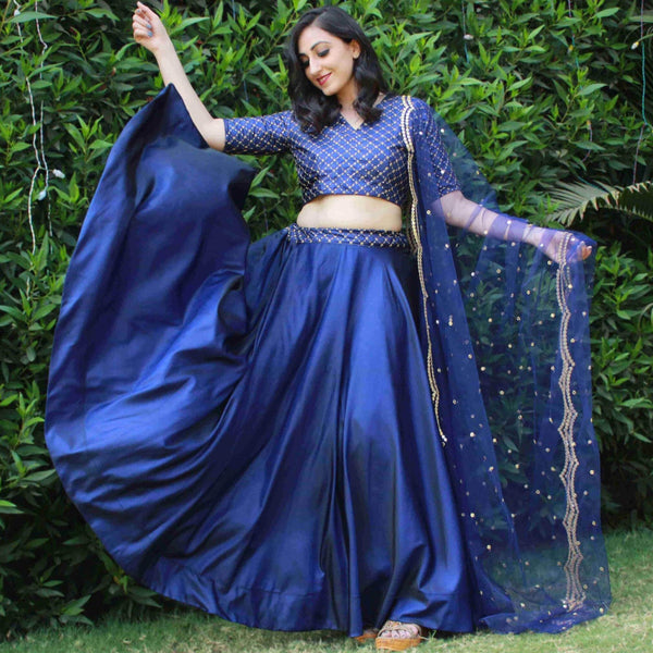 SATIN LEHNGA CHOLI SET