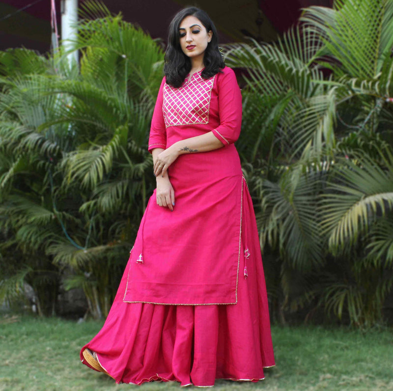 Pink cotton kurta skirt dress