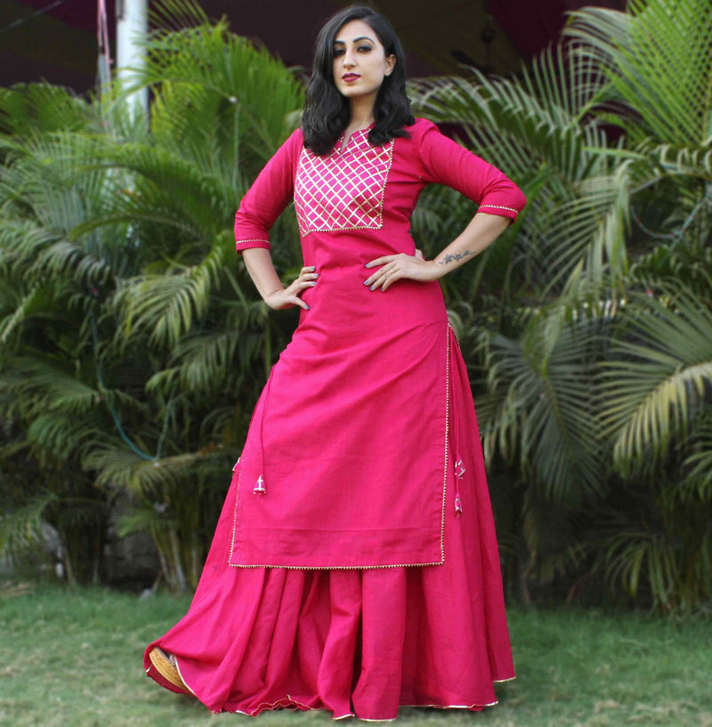 younari pink cotton kurti skirt dress