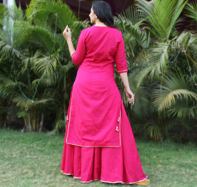 pink cotton dress for summer younari