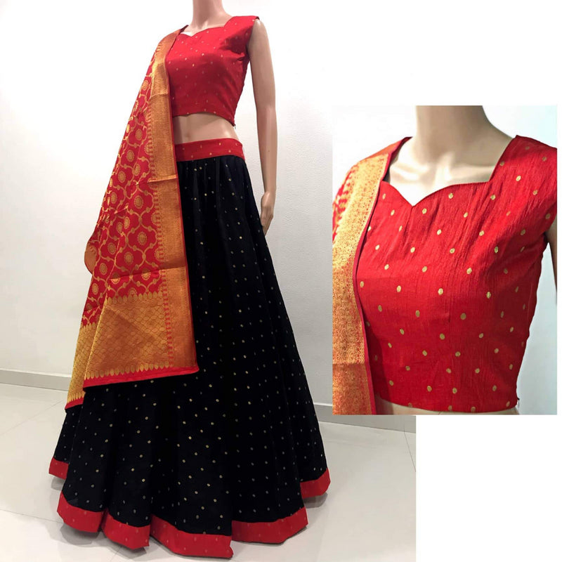 Red and Black lehnga choli with banarasi dupatta