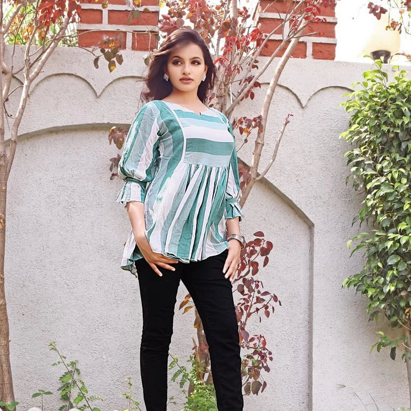 Reyon cotton western wear jeans tops for women's