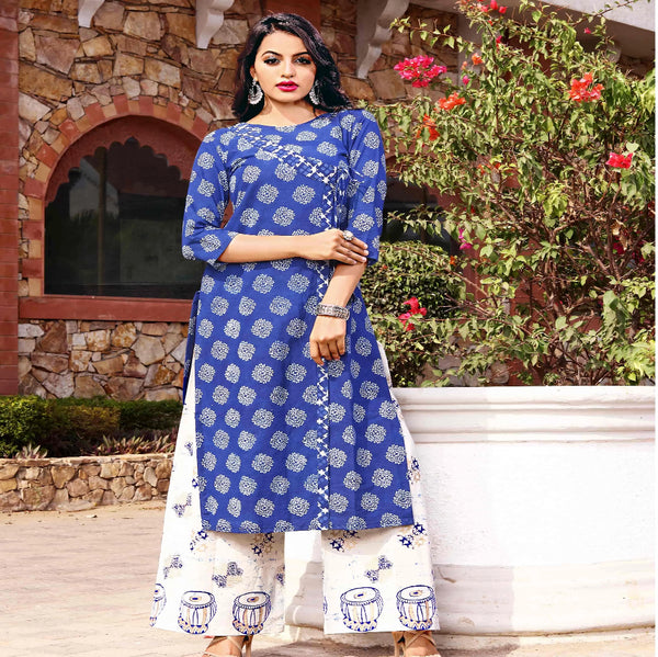 Block printed Blue cotton kurta with plazoo