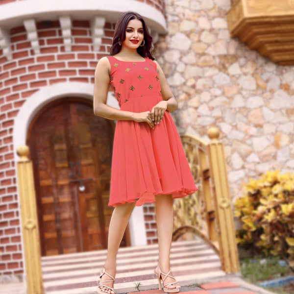 Peach western wear georgette midi dress