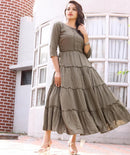 Green cotton flared dress bunaai