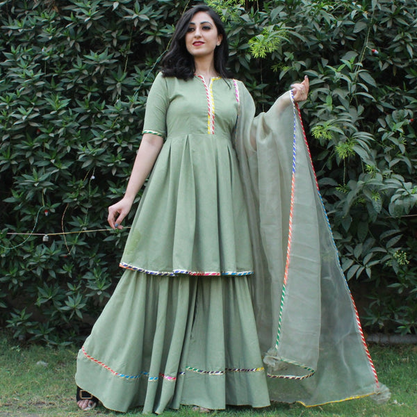 multi flex cotton sharara and kurta