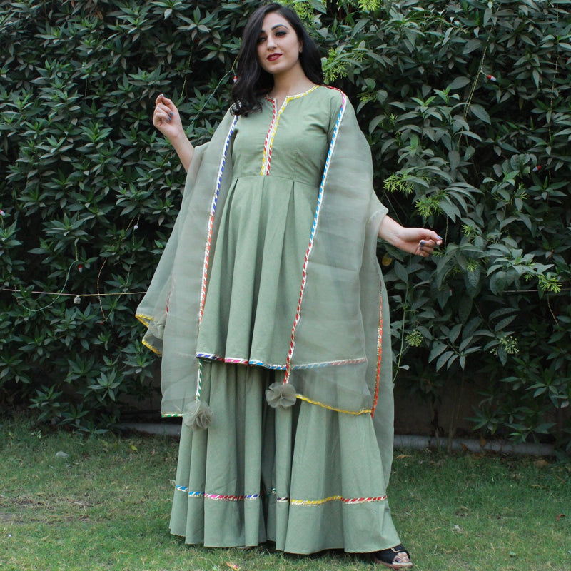 multi cotton sharara kurta with dupatta