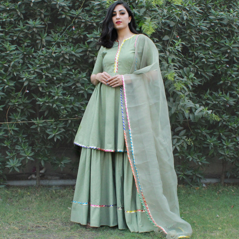 multi flex cotton kurta with sharara set