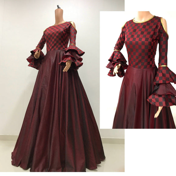 marron satin gown with bell sleeve for party wear